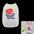 Petfz Lip Pattern Pet Dog Cotton T-shirt for Teddy - White + Orange + Blue (Size XL)