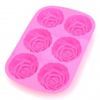 G-1 Rose Style 6-Cup Silicone DIY Cupcake Cake / Bread / Jelly / Chocolate / Pizza Mold - Fuchsia