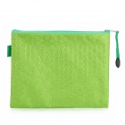 Mid-sized PVC + Fabric Zippered Documents File Holder Pocket w/ Strap - Green + Yellowish Green