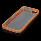 Ultrathin Fluorescent Frame Protective Plastic Back Case for iPhone 5 - Transparent + Orange