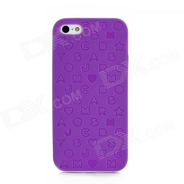 все цены на English Letters Style Protective Silicone + Plastic Back Case for Iphone 5 - Purple онлайн