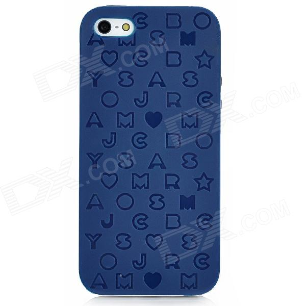 English Letters Style Protective Silicone + Plastic Back Case for Iphone 5 - Dark Blue protective matte silicone case for iphone 5 5s dark blue white