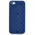 English Letters Style Protective Silicone + Plastic Back Case for Iphone 5 - Dark Blue