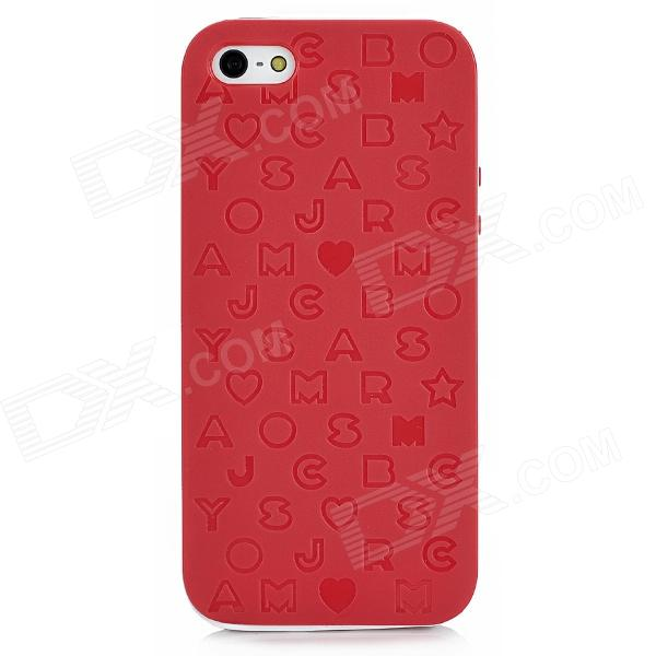 English Letters Style Protective Silicone + Plastic Back Case for Iphone 5 - Red