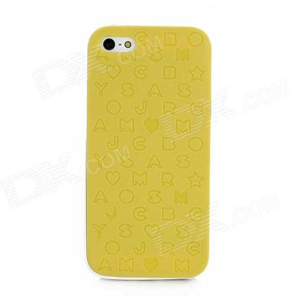 English Letters Style Protective Silicone + Plastic Back Case for Iphone 5 - Yellow