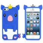 Cute Crown Pig Style Protective Silicone Back Case for iPhone 5 - Blue