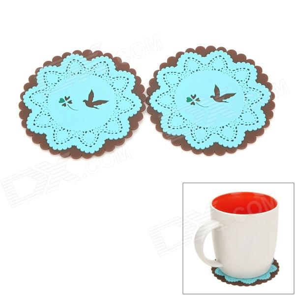 Lace Style Round Silicone Cup Pad - Blue + Coffee (2 PCS) single sided blue ccs foam pad by presta
