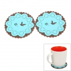 Lace Style Round Silicone Cup Pad - Blue + Coffee (2 PCS)