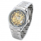 Luckyfamily 007 Männer Skeleton Zinc Alloy Self-winding Mechanical Analog-Armbanduhr - Silber + Golden