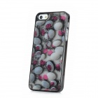 3D Pattern Protective Shining Plastic Back Case for iPhone 5 - Grey + White + Red