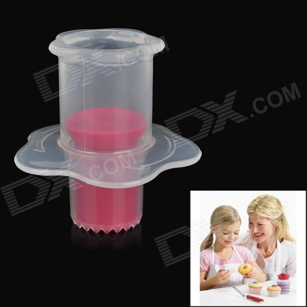 Syringe Piston Style Food Cake Mold Hole Digger - Red + Translucent syringe style pp baby medicine given w measuring cup translucent white