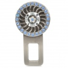 LiShi Fashionable Rhinestone + Alloy Car Safety Seat Belt Buckle - Silvery Grey + Light Blue