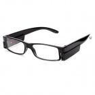 UV400 Protection PC Frame Resin Lens 1.56 Presbyopic / Reading Glasses w/ 2-LED - Black