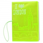 I Love London Pattern PVC Passport Holder - Fluorescent Green