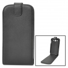 Protective PU Top-flip Open Case for Samsung i9082 - Black