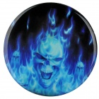 JY020 Flame Skull Pattern Round Car Decoration Sticker - Blue + Black