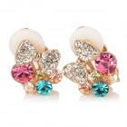 Bowknot Women's Copper Aluminum Alloy + Rhinestones Clip-on Earrings - Gold + Green + Pink (Pair)