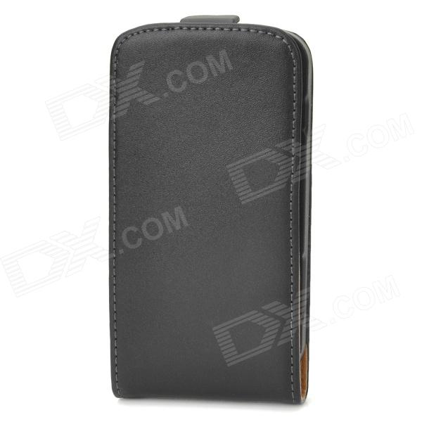 Protective Leather + Plastic Top-flip Open Case for Samsung Galaxy Trend Duos / S7562 - Black