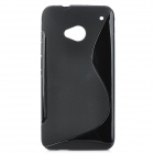 """S"" Style Protective TPU Back Case for HTC M7 - Black"