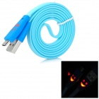 USB 2.0 to Micro USB Data/Charging Cable w/ Smiley Face Indicator Light for HTC / Nokia - Light Blue