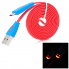USB 2.0 to Micro USB Data/Charging Flat Cable w/ Smiley Face Indicator Light for HTC / Nokia - Red