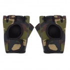 Camouflage Sport Anti-slip Woolen Cloth + Anti-slip Rubber Half Finger Gloves - Army Green (Pair)