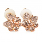 Bowknot Style Copper Aluminum Alloy + Rhinestone Clip-on Earrings for Women - Golden (Pair)
