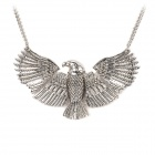 0916 Hawk Style Zinc Alloy Pendant Necklace for Women - Silver