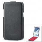 HOCO Note2 Protective Cow Split Leather Top Flip Open Case for Samsung N7100 – Black