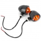 10W Yellow Light Retro Motorcycle Steering Light Lamp - Black + Orange (12V / 2 PCS)