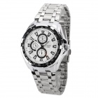 YIQIN Y5026 Fashion Man's Stainless Steel Analog Quartz Waterproof Wrist Watch - Silver + White