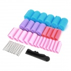 DILAN CJ-208 37-in-1 Plastic + Sponge Buckle Hair Curler Tool - Blue + Purple + Pink
