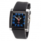 Rectangle Acrylic Dial Silicone Band Quartz Analog Wrist Watch for Men - Black