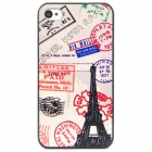 Postmark Eiffel Tower Pattern Protective Plastic PC Case for Iphone 4 / 4S - Colorful