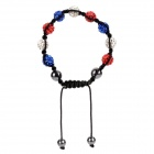 Elegant Polymer Clay Woven Bracelet w/ 9-Rhinestones 4-Beads for Women - Red + White + Deep Blue