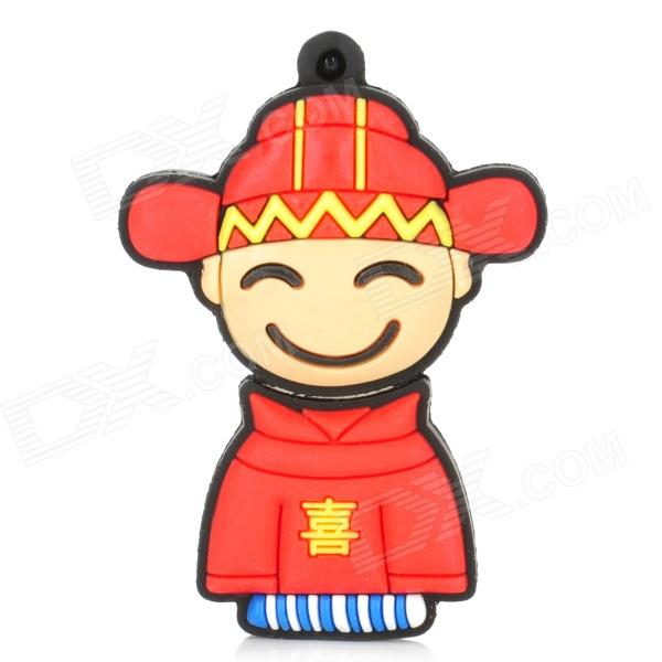 Cartoon Bridegroom Style USB 2.0 Flash Drive - Red + Black (4GB)