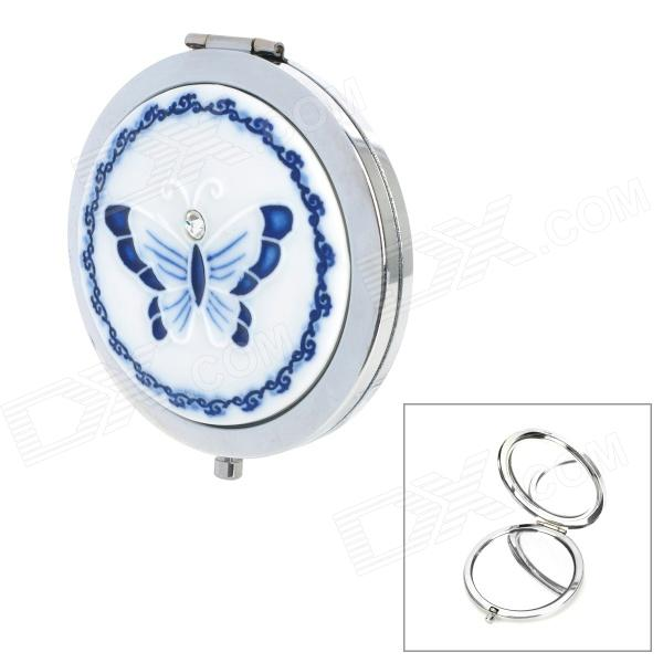 Blue and White Porcelain Butterfly Style Double Sided Makeup Cosmetic Mirror bob cosmetic makeup powder w puff mirror ivory white 02