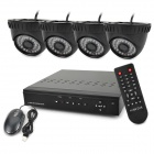 KIT-D4C4DM 4-CH H.264 Digital Video Recorder w/ 4 x 36-IR LEDs Indoor Cameras