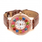 Fashion Lady's PU Band 7-Color Rhinestone Analog Quartz Waterproof Wrist Watch - Coffee + Rose Gold
