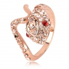 Cool Red Eye Cobra Style Copper Aluminum Alloy + Rhinestone Ring - Rosy Gold (Size L)