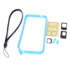 Detachable Protective Plastic Bumper Frame w/ Hand Strap for Iphone 5 - Sky Blue