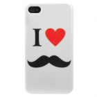 I Love Mustache Style Protective Plastic Back Case for Iphone 4 / Iphone 4S - White + Black + Red