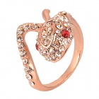 Cool Red Eye Cobra Style Copper Aluminum Alloy + Rhinestone Ring - Rosy Gold (Size M)