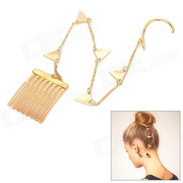 Zinc Alloy Triangle Shape Chain Ear Hook Decoration Earrings Comb for Women - Golden
