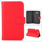 Protective Second Layer Cow Leather Flip-Open Case for Samsung Galaxy Grand / i9080 / i9082 - Red