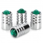 YB030601 Universal Car Tire Valve Caps w/ Crystal - Silver + Green (4 PCS)