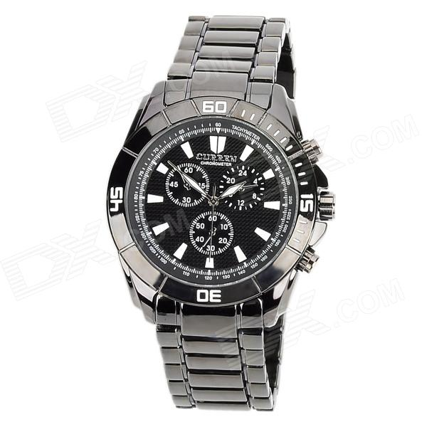 CURREN 8044 Fashion Man's Tungsten Steel Analog Quartz Waterproof Wrist Watch - Black (1 x LR626) curren 8019 water resistant electroplating tungsten steel quartz wrist watch black 1 x 626 page 7