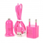 3-in-1 USB Car Charger + EU Plug AC Adapter + 8-Pin Lightning Cable for iPhone 5 - Deep Pink