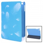 Feather Style Protective PU Leather Case for iPad Mini - Blue + White