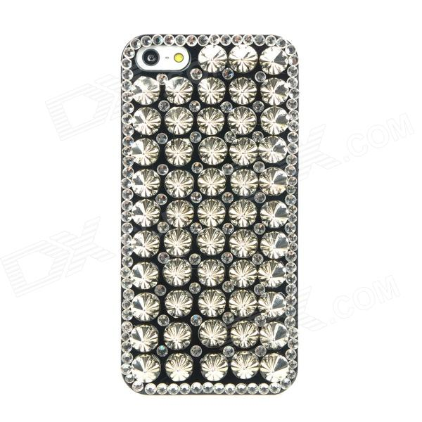 Protective Cool Rivets CrystalPlastic Back Case for Iphone 5 - Black + Silver music piano pattern protective crystalplastic back case for iphone 5 black silver